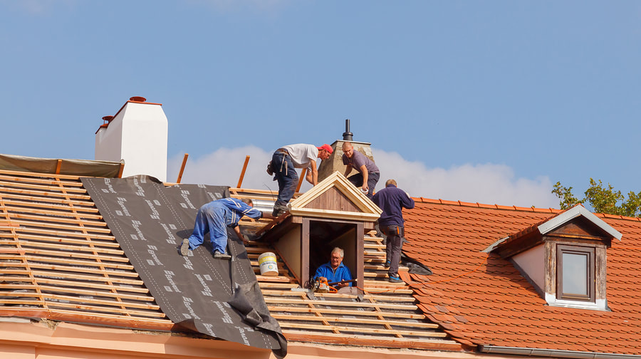 Our Roofer installing the new roof